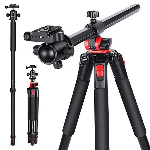 Neewer カメラ三脚 360度回転可能なセンターコラムとボールヘッドQRプレート付き 184cmポータブルマグネシウムアルミ4セクション三脚レッグ DSLRカメラビデオカメラ用 15kgまで