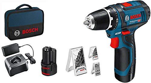 Bosch Professional Sistema 12V Trapano Avvitatore GSR 12V-15 Batteria 2x2.0 + Caricabatterie, Set Accessori 39 pezzi, in Borsa, Amazon Exclusive Set