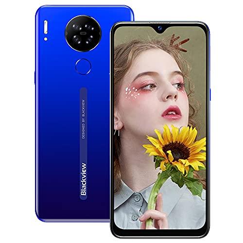 Smartphone Pas Cher, Blackview® A80 Téléphone Portable 4G(6.21'' HD+IPS, Quad Caméra Arrière 13MP, 4200mAh, 16Go-SD 128Go, Android 10, Dual-SIM) Smartphone Débloqué, Face ID/Fingerprint/GPS/WiFi-Bleu