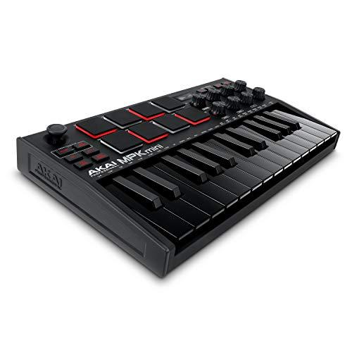 AKAI Professional MPK Mini MK3 Black  Tastiera MIDI Controller USB a 25 Note con 8 Drum Pad Retroilluminati, 8 Manopole e Software Incluso (Nero)