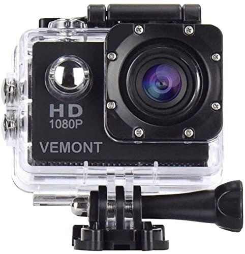 VEMONT 5,1 cm Action Camera Full HD 1080p 12 MP fotocamera sportiva Action Cam 30 m/29,9 m subacquea impermeabile e kit di accessori per il montaggio