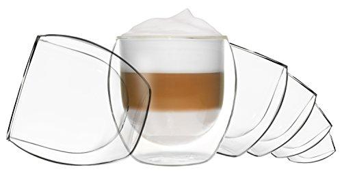 DUOS 6X 310ml Jumbo doppelwandige Gläser mit Schwebe-Effekt, Gin-Tonic,Kaffee