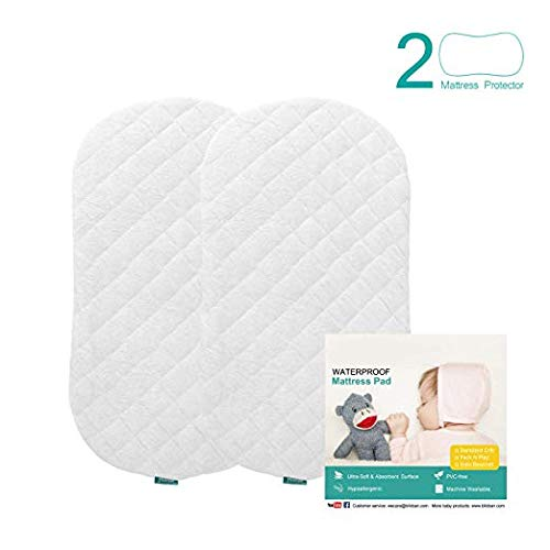 Bassinet Mattress Pad CoverImproved Style, Waterproof, Fit for Hourglass/Oval Bassinet Mattress, 2 Pack, Ultra Soft Bamboo Fleece Surface, Washer & Dryer, No Loosen and Pre-Shrinked