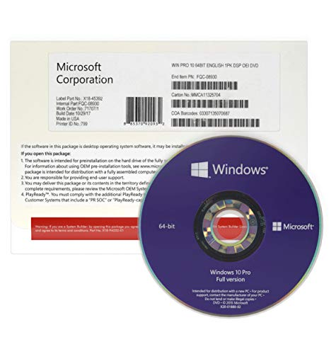 Windows 10 Pro 64 bit Italiano OEM - DVD - Windows...