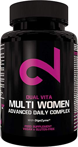 DUAL VITA Multi Women | 100% naturale| Vitamina, minerali e vegetali Combo | Donne attive | 60 capsule vegetali| 100% naturale integratore alimentare| Certificato in lab | Senza additivi| Made in EU