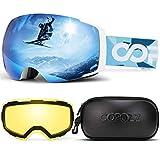 Polarized Ski Goggles Set, COPOZZ S1 Magnetic Snowboard OTG UV400 Skiing Goggles