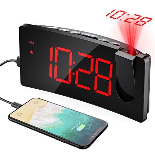 Mpow Sveglia con Proiettore, Sveglia Digitale da Comodino, Porta USB, 5'' Grandi Schermo LED, 4...
