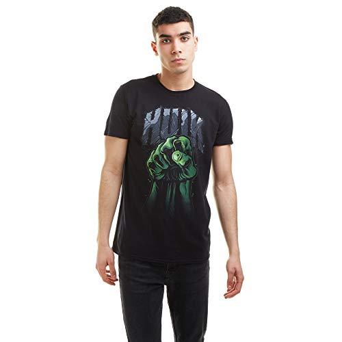 Marvel Hulk Fist T-Shirt, Black, Medium for Men