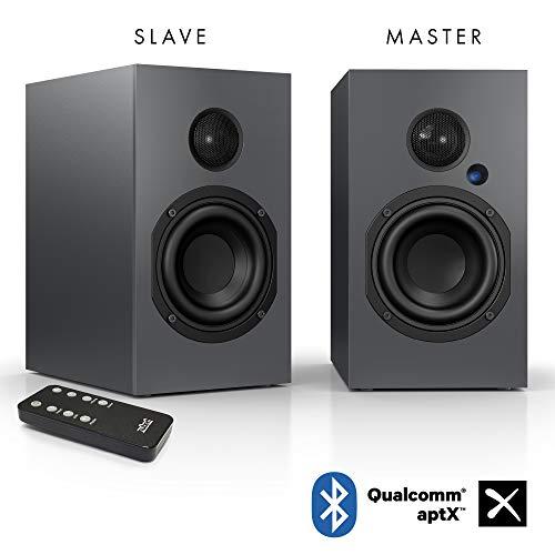 Nubert nuBox A-125 Regallautsprecherpaar | Lautsprecher mit Bluetooth aptX | Schreibtischlautsprecher für Homeoffice| aktive Regalboxen mit 2 Wege Technik | Kompaktlautsprecherset Grau | 2 Stück