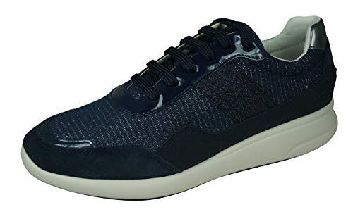 Geox Mujer Zapatos de Cordones D Ophira, señora Calzado Deportivo,Zapato con Cordones,Calzado de Exterior,Deportivo,de Moda,Ocio,Blau,37 EU / 4 UK
