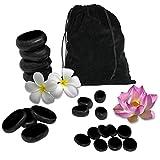 Vivezen ® Lot de 20 pierres chaudes pour massage en basalte naturel poli + Sac de rangement - Norme CE