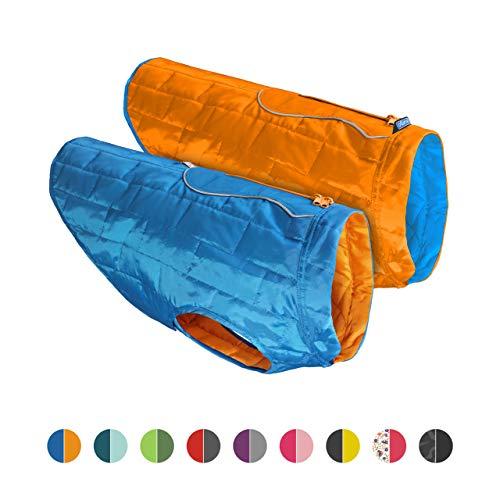 chamarra para perro Kurgo Loft, resistente al agua, para perros, reflectante, reversible, para perros, ligera, compatible con arnés, tela antidesgarros duradero, lavable a máquina, 8 colores, Empaque estándar, Coastal Blue/Orange, S