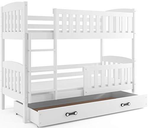 Interbeds Etagenbett QUBA 200x90cm aus Kiefernholz, Farbe: WEIß ; mit Matratzen und Lattenroste (weiß + weiße Schublade)