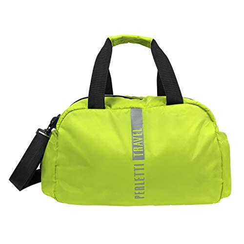 PERLETTI Bagaglio a Mano Ryanair 40x20x25 cm - Weekender da Viaggio Morbido per Uomo e Donna in Nylon - Sacca Unisex con Manici e Tracolla - Borsone Ultra Leggero per Aereo (Verde Lime)