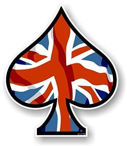 As de Picas Diseño con Bandera Británica Union Jack Impreso Vinilo Coche Moto Pegatina 100x85mm por Ctd