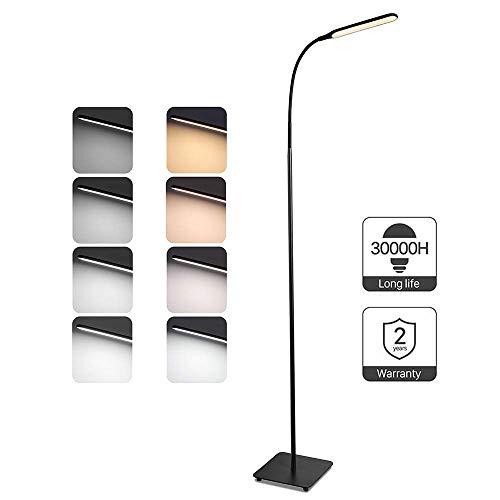 TaoTronics Stehlampe LED Dimmbar 10W Stehleuchte für Wohnzimmer Schlafzimmer, hohe 30.000 Stunden Lebensdauer, 4 Farbtemperaturen, 4 Helligkeitsstufen, Flexibler Schwanenhals, Schwarz