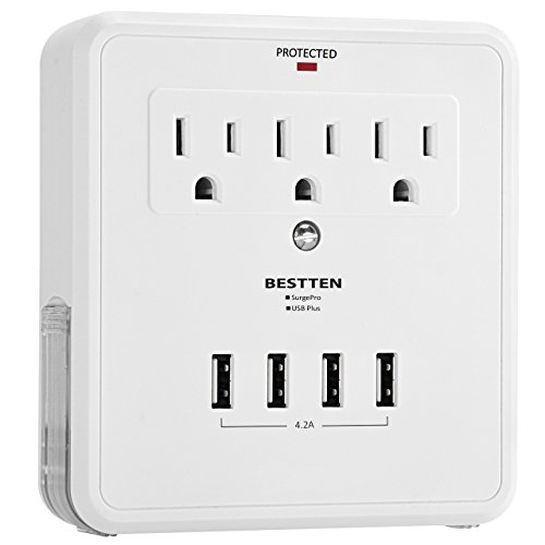 BESTTEN USB Outlet Surge Protector, 4 USB (Max 4.2A) Charging Ports and 3...
