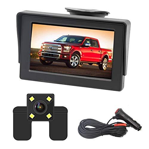 OBEST 4,3' Telecamera di backup HD e kit monitor, Sistema di osservazione per visione notturna impermeabile di facile installazione con visione posteriore/anteriore, Ideale per auto, camion, SUV
