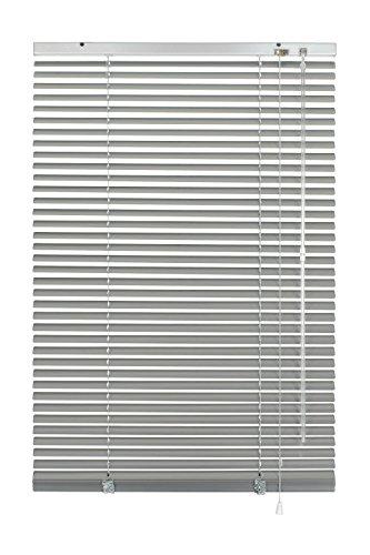 GARDINIA Veneziana in alluminio, Visibilità, Protezione dalla luce e ai raggi solari, Fissaggio al muro e al plafone, Kit di montaggio incluso, Argento, 80 x 130 cm (LxA)