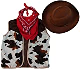 Kids Western Rodeo Cowboy or Cowgirl Basic Costume Set - Vest, Brown Hat, Bandanna, Size 4/6