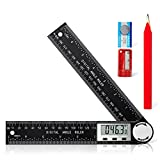 Digital Angle Finder Protractor, 2 in 1 Angle Finder Ruler with 7inch/200mm for Woodworking/Carpenter/Construction/DIY Tools (2 Batteries and Carpenter Pencil Included)