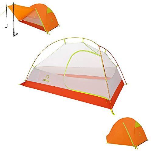 ATEPA Camping Tent, 1-2 Person Backpacking Tent Outdoor Tent Waterproof Windproof Tent with Rainfly for Family Beach, Outdoor, Traveling, Hiking, Hunting, Fishing, Mountaineering, Weight 6.8 lbs
