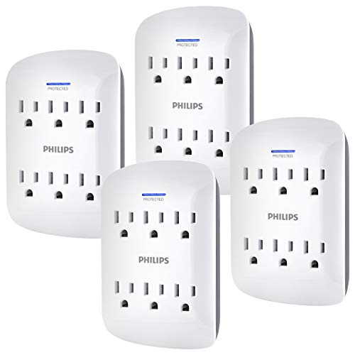 PHILIPS 6-Outlet Surge Protector Tap, 4 Pack, 900 Joules, Space Saving Design, Protection Indicator LED Light, 3 Prong, White, SPP3469WA/37