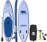 Atoll 11' Foot Inflatable Stand Up Paddle Board (6 Inches Thick, 32 inches Wide) ISUP, Bravo Hand Pump and 3 Piece Paddle, Travel Backpack and Accessories New Paddle Leash Included (Desert Sand) 2019