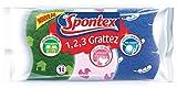 Spontex - 1,2,3 Grattez - Kit de 3 Éponges Multi-Usages - Idéales Ménage,...