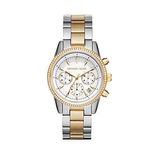 Michael Kors Damen Chronograph Quarz Uhr mit Edelstahl Armband MK6474
