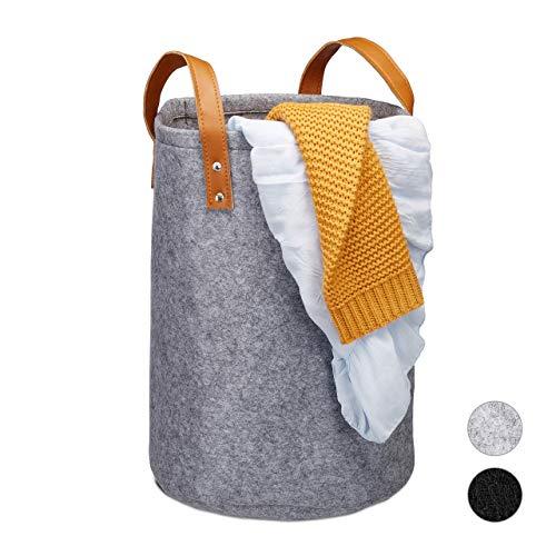 Relaxdays Wäschekorb Filz, Tragegriffe aus PU-Leder, 28 l Aufbewahrungskorb Kinderzimmer, Bad, HxD 45 x 30 cm, anthrazit, 1 Stück