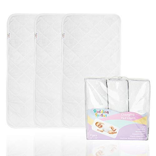Cubiertas para cambiadores acolchadas altamente absorbentes (paquete de 3). Tamaño más grande, hipoalergénicas y suaves 38x74 cm (15' x 29') Hechas con rayón de bambú 100%