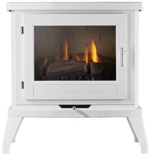 Doughton White Flueless Gas Stove Class A Efficient Modern Fire Log Flame Freestanding