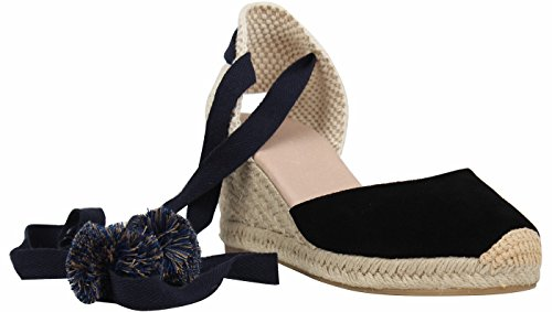 SimpleC Zapatos de Cuña de Tobillo con Tacón de Tobillo Clásico para Mujer, Sandalias de Alpargatas Pompom de Piel de Oveja Negro Pompón39