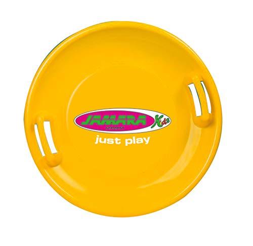 Jamara 460370 - Snow Play Rutschteller 60cm gelb - Haltegriffe an beiden Seiten, langlebiger, robuster Kunststoffkörper, Coole Spaßmotive auf der Rutschschale, Leichtgewicht mit nur 555 g