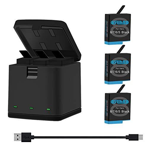 Oyomba Hero 8/7/6/5 Sostituzione Batteria (3 Pack) e 3 Canali LED USB Storage Box Adapter Compatibile con GoPro Hero 8/7 Black, Hero 5/6 Black, AHDBT-801
