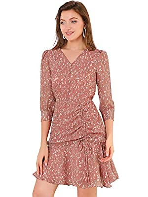 Chiffon Dress, Floral Printed, V Neck with Button Decor, 3/4 Sleeve with Button Cuffs. Drawstring Ruched Side, Ruffled Hem, Lined. Occasions: Casual, Coffee Shop, Work, Office, Date, Daily Wear, etc. Machine Wash Cold with Like Colors. Model is weari...