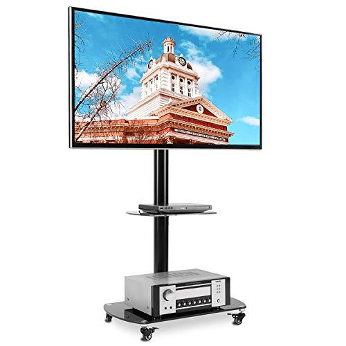 RFIVER Carrello TV da Pavimento Mobile Porta TV Supporto con Ruote Universale Girevole e Ripiano in...