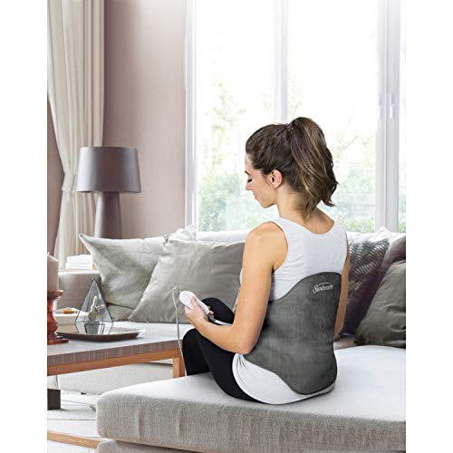 Sunbeam Heating Pad Back Wrap with Adjustable Strap | Contoured for Back Pain Relief | 4 Heat Settings with 2 Hour Auto Off | 23 x 15 Inch, Slate Grey