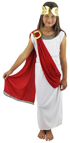 Ilovefancydress - Disfraz de Diosa Romana Para Niñas, Color Blanco y Rojo (4-14 Años)