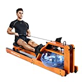 RUNOW Rowing Machine for Home Use, Wooden Water Rower with LCD Monitor Water Rowing Machine Oak Wood for Fitness Equipment