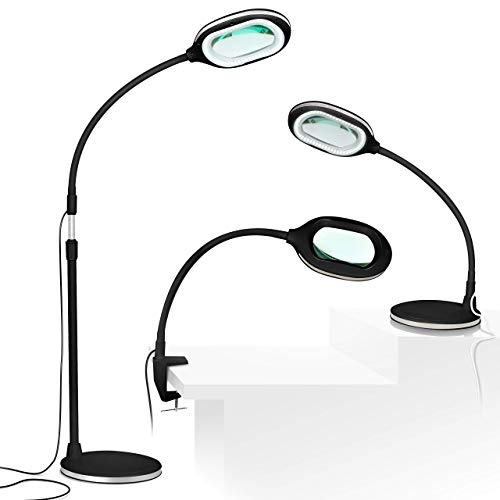 Brightech LightView Pro 3 in 1 Magnifying Lamp - Bright LED Light With Magnifier - Floor Lamp Converts to Desk - Comfort, Flexibility & Durability for Pro Uses, Crafts, Hobbies & Reading