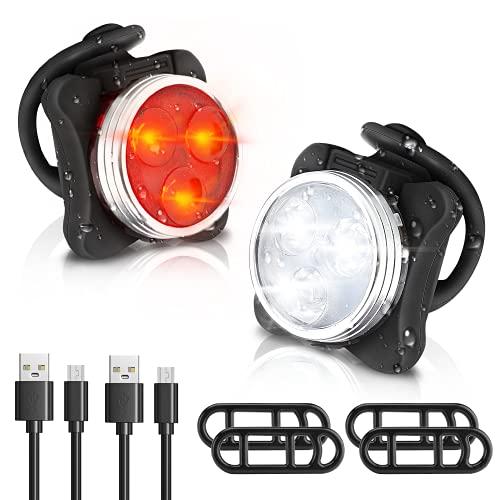Luci per Bicicletta LED Ricaricabile USB - Luce Anteriore e Posteriore Luci MTB Impermeabile 4 modalit di Luminosit 350LM Super Luminoso Set Luci Bici Avvertimento per Bicicletta Strada e Montagna