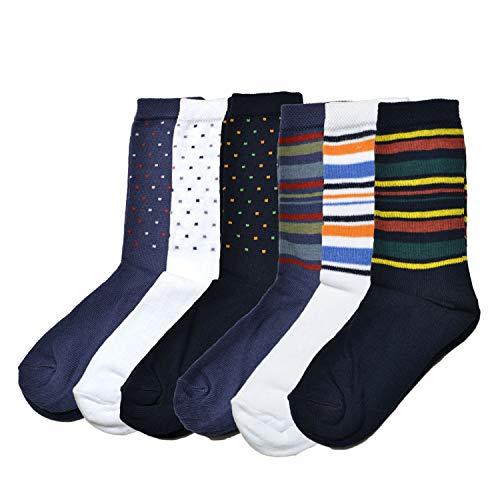 Fontana Calze, 6 paia di calze corte bambino ragazzo in caldo cotone elasticizzato. Prodotto Italiano. RIGHE + POIS 35-38