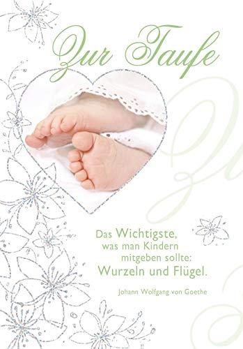 Karte zur Taufe Basic Classic - Karte zur Geburt, Füße - 11,6 x 16,6 cm