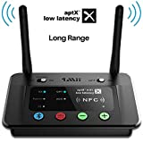 1Mii Long Range Bluetooth Transmitter Receiver Bluetooth Audio Adapter for TV PC Home Stereo with aptX Low Latency HiFi Sound & NFC, Optical RCA AUX 3.5mm - B03