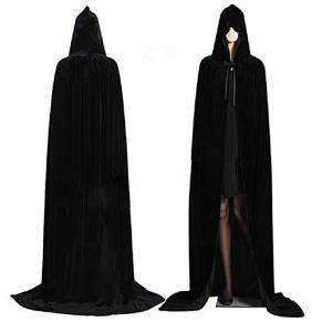 Negro Largo Capa con Capucha Terciopelo Disfraz para Halloween Disfraces de capa de Navidad 150cm