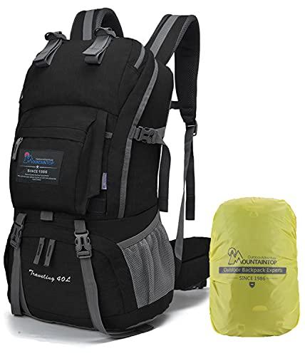 MOUNTAINTOP 40 litros Mochila de Senderismo, Impermeable Mochila Trekking al Aire Libre Mochilas de Montaña Viajes Acampadas con Cubierta de Lluvia(Estampado Negro Y Azul)