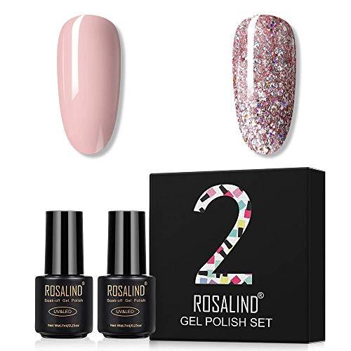 ROSALIIND Nail Polish Set,2pcs 7ml Nude Glitter Series Nail Art UV LED Soak Off Gel Nail Polish