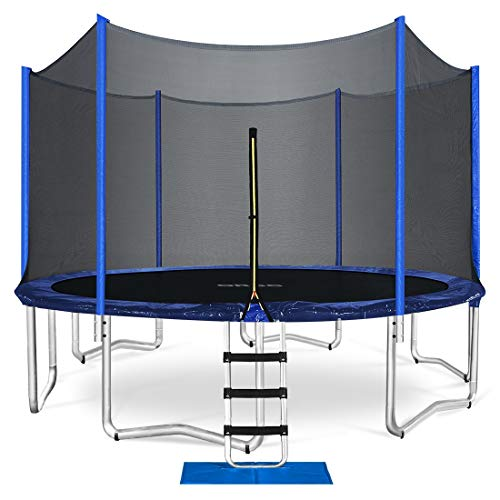 ORCC Trampoline 15 14 12 10FT Outdoor Trampoline 400 LBS Weight Capacity for Kids Adults, Safe Backyard Trampoline with Enclosure Net Ladder Jumping Mat Rain Cover, Including All Accessories (12ft)